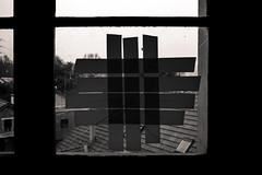 Tous Pour un (LoKee Photo) Tags: lokee lowkey black white window monochrome tape light shadow dark contrast fuji x100s