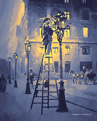 Digital Gouache Painting of a Streetlight Being Lit in Parvis Notre-Dame by Charles W. Bailey, Jr. (Charles W. Bailey, Jr., Digital Artist) Tags: streetlight gaslighting parvisnotredame placejeanpauliisquare notredamecathedral iledelacite paris france europe photoshop photomanipulation alienskinexposurex3 topazlabs topazclarity topazclean nikcolorefexpro4 akvissketch topazrestyle akvisartwork gouache gouachepainting painting art fineart visualarts digitalart digitalartist charleswbaileyjr