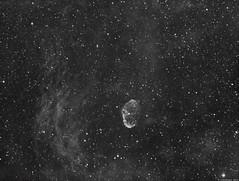 NGC6888 - The Crescent Nebula (alastair.woodward) Tags: sky stars nebula astronomy astrophotography mono blackandwhite ngc6888 sadr night dark longexposure skywatcher esprit80 heq5 asi1600mmc zwo baader 7nm hydrogen alpha narrowband