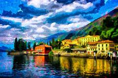 Lake Como, Bellagio (Kalev Vask.) Tags: digital kalevvask postprocessed photoshop photomanipulation digiart photoart painterly artistic creative italy spring manipulated ownphoto phototopainting lake como mediachance on1