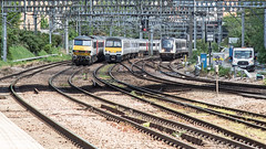 90009 (JOHN BRACE) Tags: 1988 brel crewe built class 90 bo electric loco 90009 seen stratford abellio greater anglia livery 1990 york 321 unit 321340 2016 bombardier derby 345 adventra cross rail emu 345008