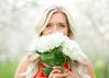 Peeping (Jenny Onsager) Tags: peep peeping flowers hydrangea appleorchard girl teengirl blond eyes longhair beauty