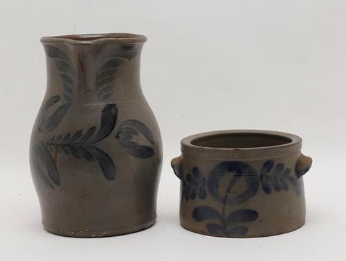 Maryland Region Stoneware Pitcher w/ Cobalt Decoration ($2,016.00) and H.C. Smith, Alexandria/DC 1/2 Gallon Cobalt Decorated Stoneware Jar ($336.00)