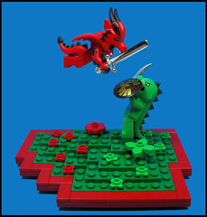 Beast Battle (Karf Oohlu) Tags: lego moc minifig vignette beastbattle dragon lizardman battle swordplay