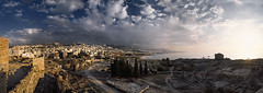 Panoramic Byblos (zerega) Tags: city travel sunset sea vacation sky panorama lebanon cloud mountain holiday building tree castle history water horizontal stone architecture clouds geotagged outdoors coast town ancient ruins asia mediterranean mediterraneo cityscape dusk antique scenic middleeast panoramic historic unescoworldheritagesite unesco egyptian alphabet script past libano lebanese crusader crowded liban byblos akdeniz excavation crusades phoenician tranquilscene libanon destinations archeologicalsite crusadercastle mediooriente famousplace lubnan  buildingexterior themediterraneansea jbail elmarmediterrneo ilmarmediterraneo lamarmediterrnia lamermditerrane detimesdhe sredozemnomore sredozemskomorje