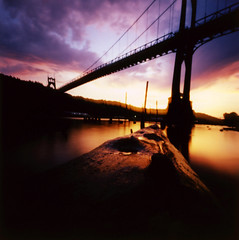St Johns Bridge (Zeb Andrews) Tags: sunset oregon square portland bridges pinhole pacificnorthwest zeroimage zero66 bluemooncamera zebandrews zebandrewsphotography