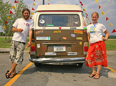 Road Buddies - Carlos & Violet (FotoEdge) Tags: road hippies 60s roadtrip 1960s roadside tiedye ontheroad volkswagon vwbus vwvan