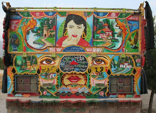 Colorful rear view of Afghan Jingle Truck with Bollywood star (from India).