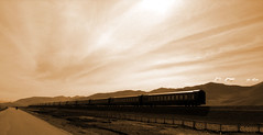 Tibet - The new train in Tibet (yewco) Tags: new sky sepia train tibet