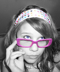 Funky glasses (wishymom (Stephanie Wallace Photography)) Tags: pink portrait color portraits coolest selective jesters bigmomma pinkpeople selectivecoloring 15challengeswinner coolestphotographers
