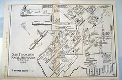 1948 Navy Day Guide Map, Hunters Point Naval Shipyard (Telstar Logistics) Tags: sanfrancisco 1948 map hunterspoint shipyard usnavy thenandnow militaryruin