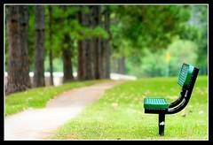 a place to rest (slight clutter) Tags: trees green grass bench bravo solitude texas houston sidewalk bayou iloveflickr slightclutter kkfav katyahorner slightclutterphotography