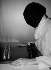 The Subreption of A Chess-Player Gone Mad (DerrickT) Tags: blackandwhite strange weird insane surrealism chess surreal eerie creepy odd mysterious bizarre avantgarde psychological myuncle themodelofweirdology