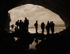 Cave silhouette (katepedley) Tags: new newzealand silhouette rock coast nationalpark interestingness panasonic explore zealand nz southisland cave geology foxriver fz30 paparoa westcoastnz gndfilter ourspacenz