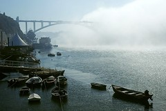 Bridge to heaven (trazmumbalde) Tags: morning bridge summer mist portugal fog river boats europe heaven porto douro arrabida jesters nevoeiro