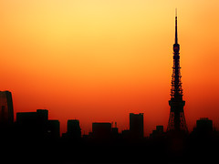Before turn on a light (gori-jp) Tags: city orange color colour building tower colors silhouette japan tokyo cityscape colours symbol tokyotower gradation effect praiseandcurseofthecity antenna televisiontower abigfave p1f1