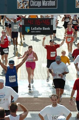 Me finishing Chicago Marathon