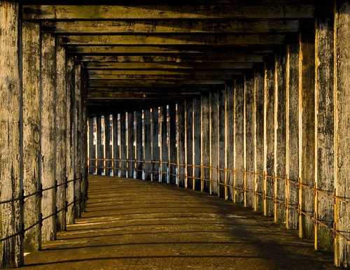 Beneath Whitby breakwater