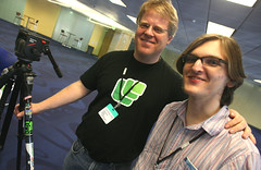 Robert Scoble and Kristopher Tate (Thomas Hawk) Tags: california light 2 two usa men trash work unitedstates chairs id unitedstatesofamerica tripod fixtures guys can ceiling tables scoble santaclara scobleizer badges southbay robertscoble hitachi carpeting patterned hds microformats podtech zooomr lunch20 kristophertate microformatstshirt lonegunmen hitachidatasystems