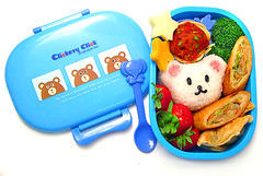 Clickety click bear bento 9-12-06 (pkoceres) Tags: bear blue chicken japan cheese lunch strawberry broccoli onigiri bento spaghetti bobbin gyoza cheddar meatball mozzarella   eggroll clicketyclick  icookedthis  lubesheep
