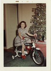 Christmas Bike, 1959 (UrbanDorothy) Tags: christmas tree girl bike stripes retro presents 1950s littlegirl oldphotographs oldphotos 1959 christmaspast familysnapshot december25 christmas1959 fbbanner