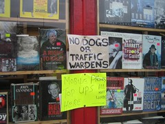 gangsters will get a warm welcome, though (GatheringZero) Tags: dogs sign shop manchester funny comedy books humour shopwindow bookshop funnysign
