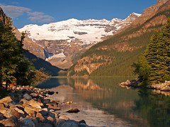 Lake Louise (Matt Champlin) Tags: life blue summer canada ice nature sunrise landscape rockies tranquility glacier alberta banff lakelouise banffnationalpark keepexploring