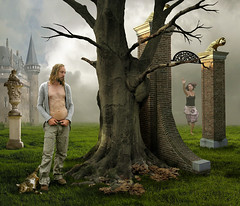 Waves of Probability (Mattijn) Tags: autumn tree castle cat gothic surreal gargoyle fantasy photomontage pino mattijn amersfoort dehaar magicrealism anideg haarzuylen wavesofprobability