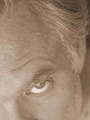 September 17 (O Caritas) Tags: selfportrait eye me sepia self hair eyebrow oneeye ocaritas nikoncoolpix8800 daily50