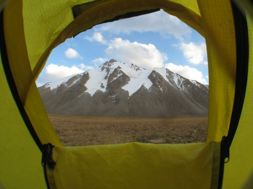 Room with a view at Kerege-Tash Pass, Kyrgyzstan
