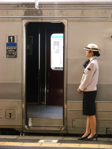 Kyushu rail stewardess ready to welcome me to her train
