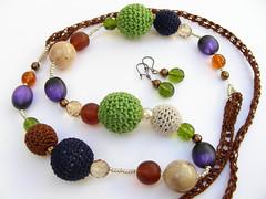 18 colar com brincos (fuchsia*) Tags: blue verde necklace castanho laranja crochet bijuteria colar brincos roxo
