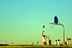 Matchup ! (gori-jp) Tags: family sky people color colour sports colors basketball topv111 kids fun dad colours child play basket sunday sunny effect parentandchild topvaa