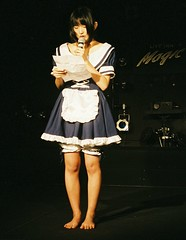 Arumi reads message (shiroibasketshoes hopper) Tags: cute feet girl beautiful japan asian foot nice toes pretty dress feminine adorable shy pop apron idol barefoot singer charming maid maids pinafore frilly domesticated frills kittel mucama schort sissymaidsapron