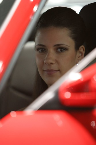 Young Female Face in Porsche 911 Turbo