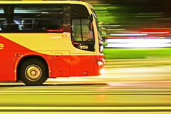 Shuttle (gori-jp) Tags: street motion blur bus colors night photoshop tokyo shinjuku colours crossing nissan diesel space pass blurred saturation arrow effect