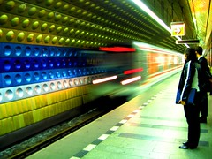"""M""_nmst mru_praha (menina1984) Tags: motion blur color station train subway prague metro prag praha czechrepublic nmstmru explored"