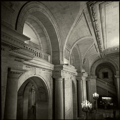 New York Public Library - Interior (T. Scott Carlisle) Tags: new york nyc 6x6 film square hasselblad 3200 ilford publiclibrary tsc tphotographic tphotographiccom tscarlisle tscottcarlisle