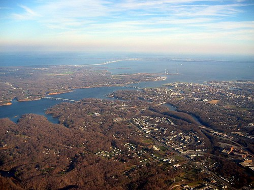 View of the Severn River, Annapolis and the Chesapeake Bay from above