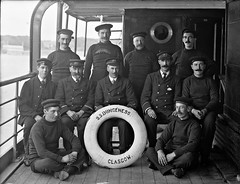A motley crew? (National Library of Ireland on The Commons) Tags: ahpoole arthurhenripoole poolecollection glassnegative nationallibraryofireland motleycrew captain crew ssdungeness glasgow steamer lifering inebolu dungeness clydeshipping clydeshippingcompany csco moustache porthole valdora henderson captainhenderson moustachage ferrybank waterford riversuir buttons seamen mariners uniforms clydeshippingco