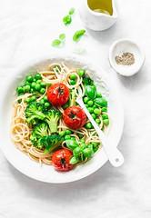 simple veggie pasta.... (sonja-ksu) Tags: food pasta vegetables spaghetti broccoli greenpeas tomatoes lunch vegetarian foodphotography