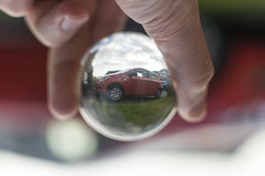 April 30th 2018 - Project 365 (Richard Amor Allan) Tags: car crystalball inverted shallowdof dof project365 red green grass