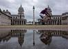 Greenwich reflections (Spannarama) Tags: puddle reflection water man groundlevel ratseyeview oldroyalnavalcollege greenwich london uk cycling cyclist bike bicycle