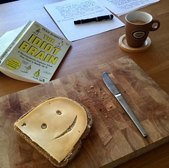 Start the Day with a Smile (pmhudepo) Tags: cheese breakfast book coffee notes breadcrumbs saycheese smile flickrfriday fountainpen theidiotbrain smileycheeseface