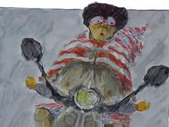 Wolfram Zimmer: Encounters - Begegnungen (ein_quadratmeter) Tags: wolfram zimmer meinzimmer kunst konzeptkunst objektkunst mein meine freiburg burg kirchzarten ausstellung ausstellungen exhibition exhibitions malerei painting malen zeichnen drawing surrealismus surrealism aleatorik aleatoric aleatorische verfahren motorroller biker motorbiker vespa