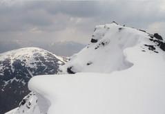 Mum on Ben Lui. (Davie Main) Tags: benlui munro munrobagging evelynmain scottishhighlands scotland highlandsofscotland cornice snowcornice snow aprilsnow scottishmountains scottishhills 2001