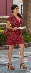 Pizza Girl (ClearlightImagery) Tags: burbank ca streetphotography streetstyle streetfashion highheels pizza beautiful smile candid