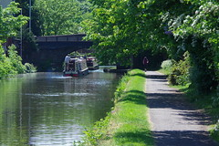 3KB03950a_C (Kernowfile) Tags: leedsliverpoolcanal maghull shoplane canal water reflections boat bridge trees bushes grass people