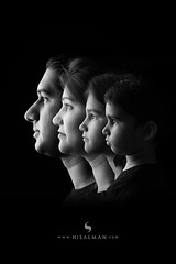 Low Key Family Portrait (hisalman) Tags: lowkey family portrait mother father girl boy child kid blackwhite faces closeup portraits black generation group