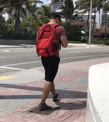 Los Olas Beach (LarryJay99 ) Tags: nape neck arms walking sidewalks urban urbanite pedestrians backpacks urbanbackpackers men male man guy guys dude dudes manly virile studly stud masculine sexyman red reds streets city beachlife life